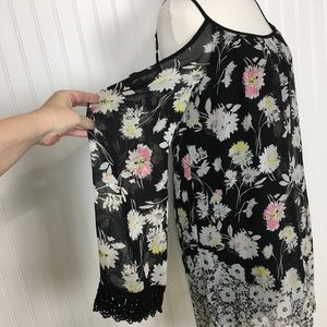 Xhilaration cold shoulder black floral dress S